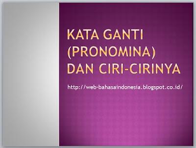 KATA GANTI (PRONOMINA) DAN CIRI-CIRINYA