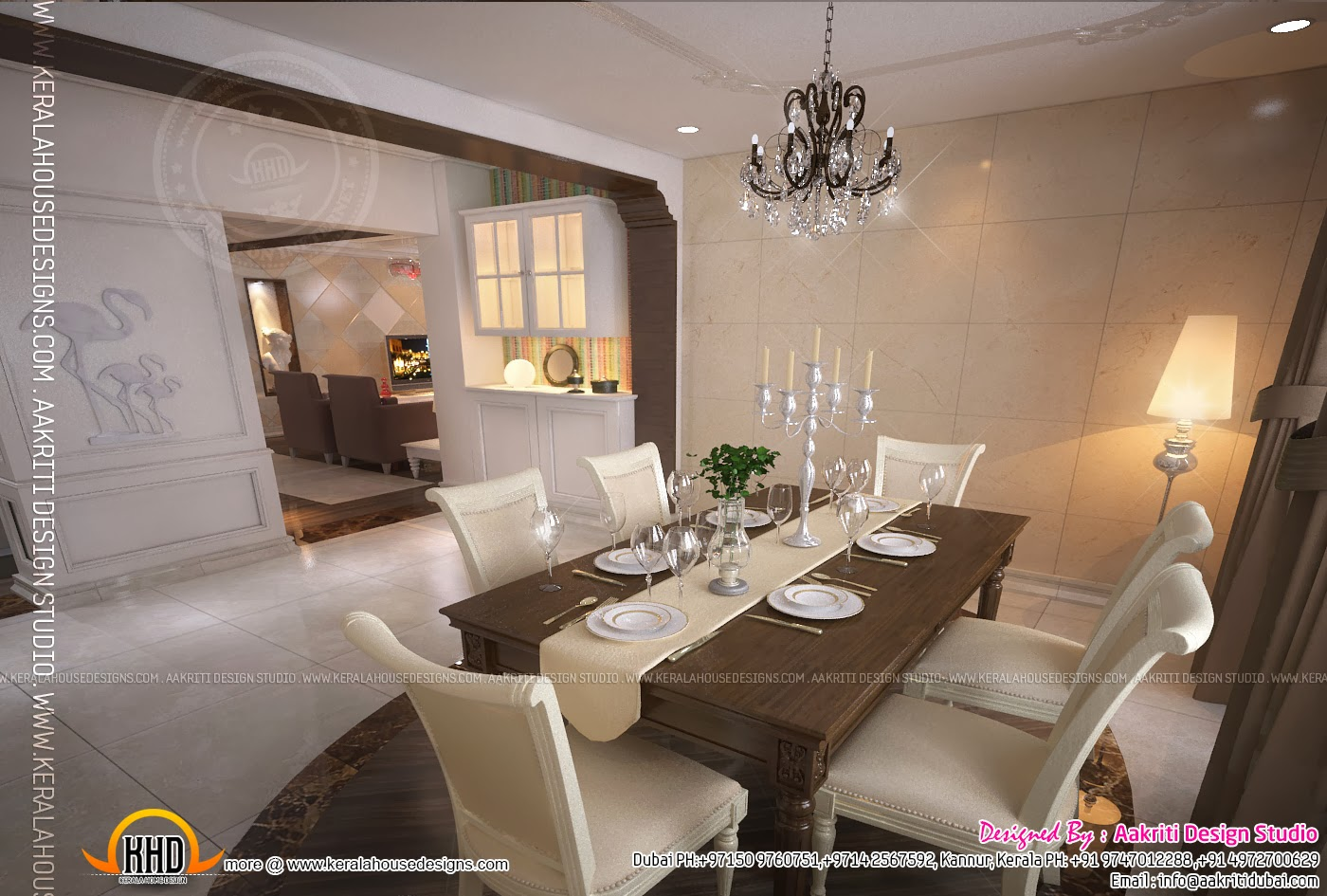 Interior design of living room dining room and kitchen for Kerala house living room interior design