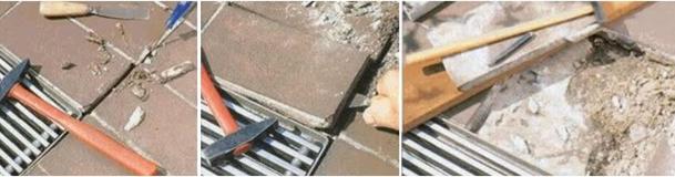Демонтаж старой плитки водосточных решеток