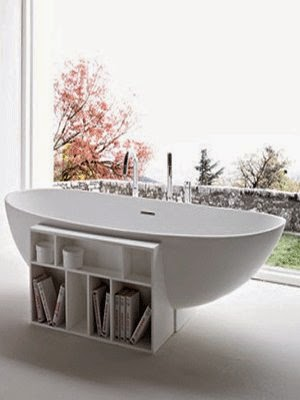 modern tub with storage book shelves design