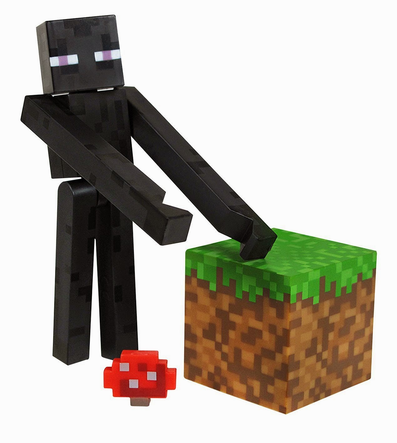 TOYS : JUGUETES - MINECRAFT  Overworld : Enderman | Muñeco | Figura   Minecraft Enderman 3 Inch Figure with Grass Block  Series #1 Minecraft action figures  Producto Oficial | Jazwares 16500 | A partir de 6 años