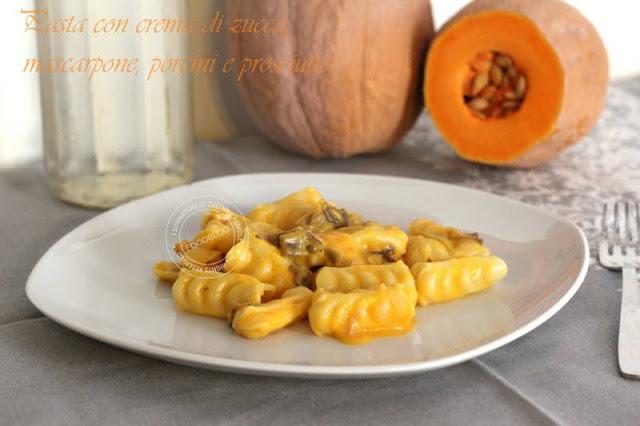 pasta_crema_di_zucca_mascarpone_porcini_prosciutto