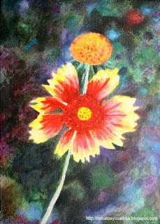 Flor del río Duratón en pintura crilica sobre lienzo