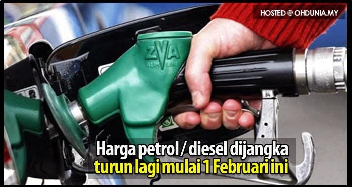 Harga minyak Petrol dan Diesel dijangka turun lagi mulai 1 Februari ini