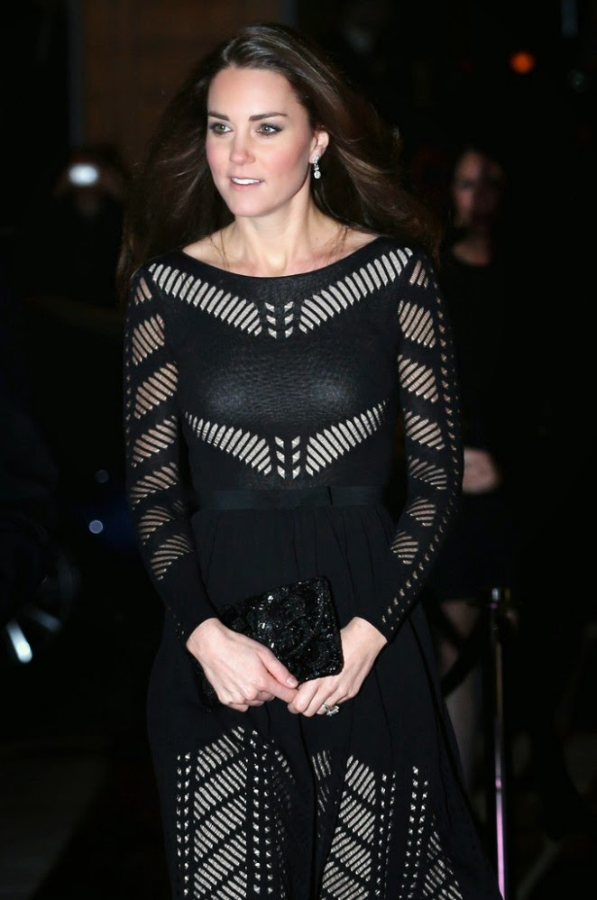 Kate Middleton wears a daring black Temperley London dress at the 'Action on Addiction' Gala in London