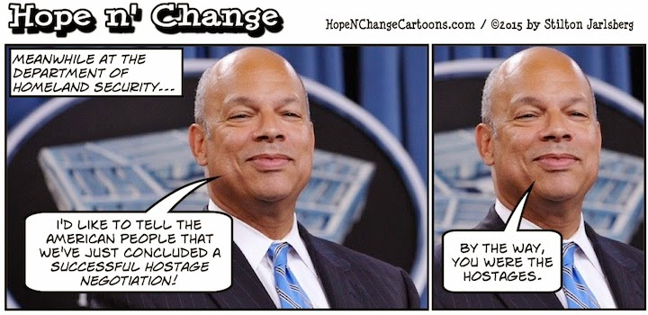 obama, obama jokes, political, humor, cartoon, conservative, hope n' change, hope and change, stilton jarlsberg, homeland security, illegal aliens, defund, terrorism, jeh johnson