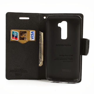 Mercury Fancy Diary Leather Case Wallet Stand with Card Slot for LG Optimus G2 D801 D802 D803 - Black