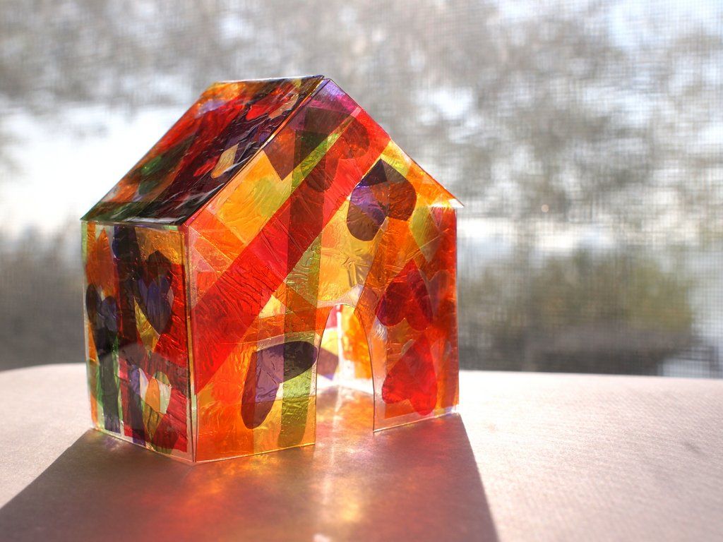Make a stained glass house using cellophane pink stripey for Projects with glass