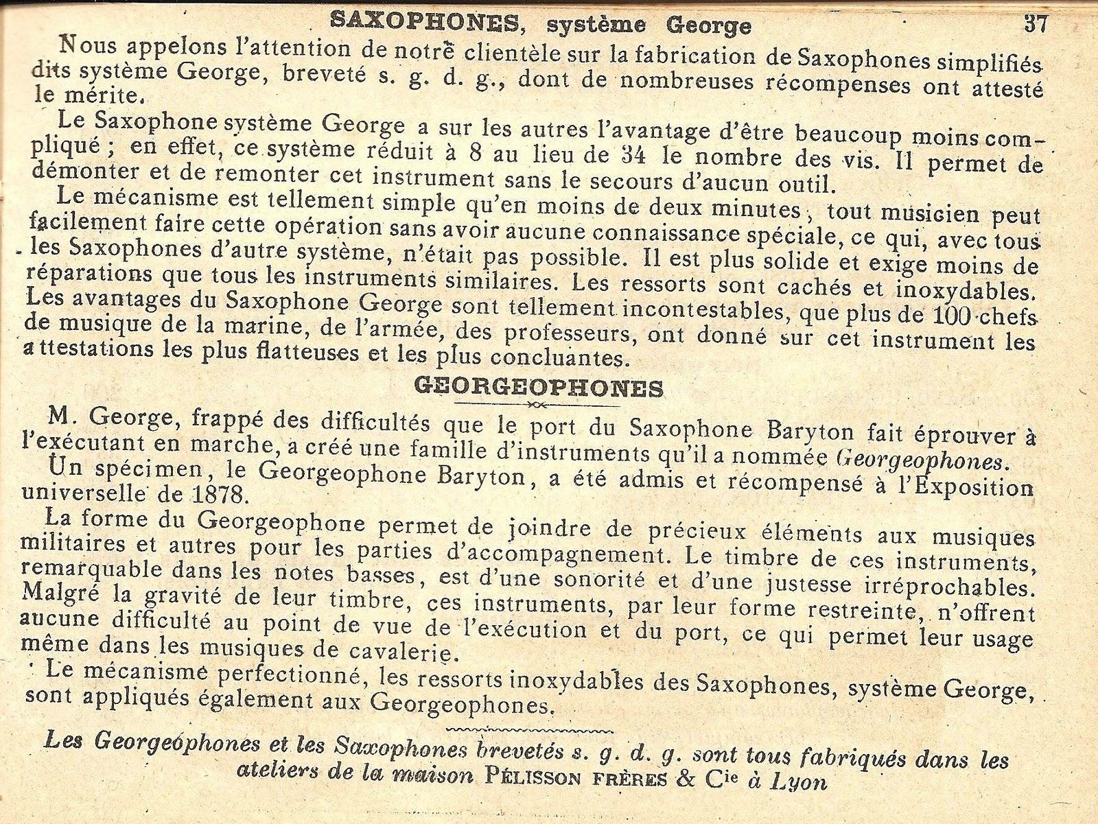 Adolphe Sax Patent