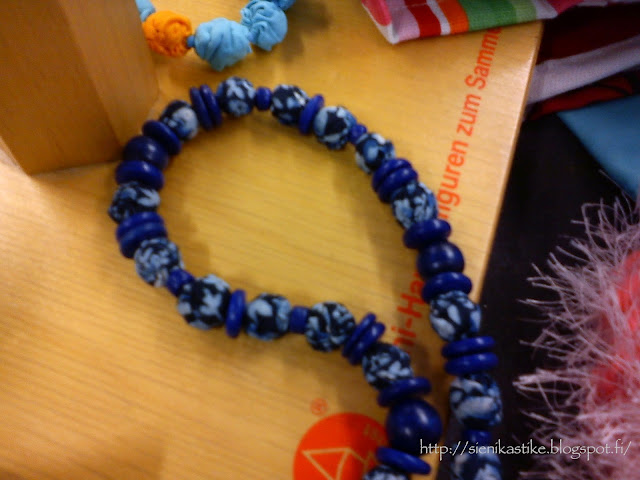 тканевые бусины, деревянные бусины, бусы из ткани, синие