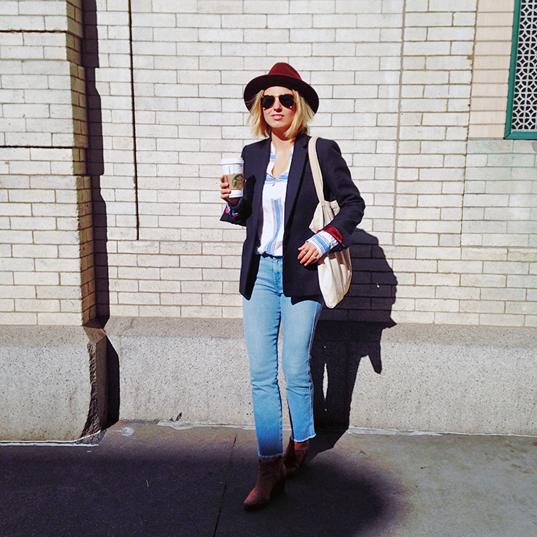 Fashion Over Reason street style, pumpkin spice latter, J.Crew blazer and linen striped top, Frame Denim, Rachel Comey Mars boots, Bailey of Hollywood wide brim hat