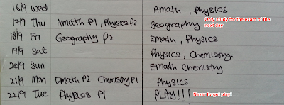exam timetable planning