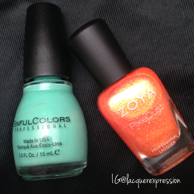 Mint Tropics nail polish by Sinful Colors Professional and Beatrix nail polish by Zoya
