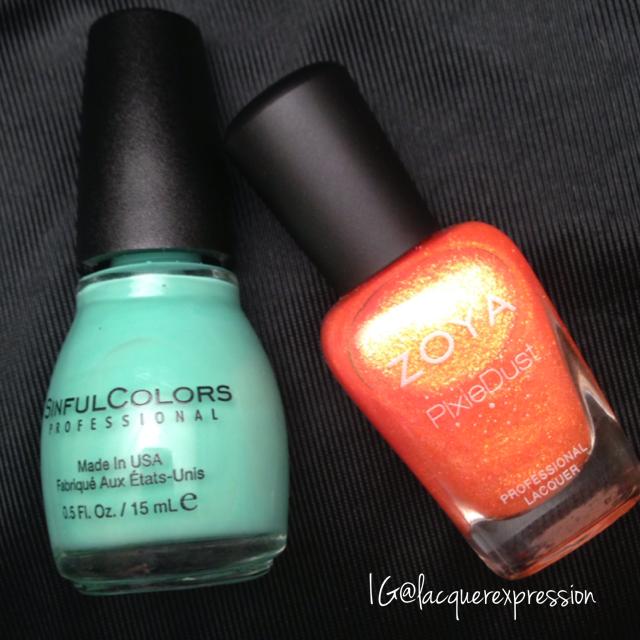 Mint Tropics nail polish by Sinful Colors Professional and Beatrix nail polish by Zoya