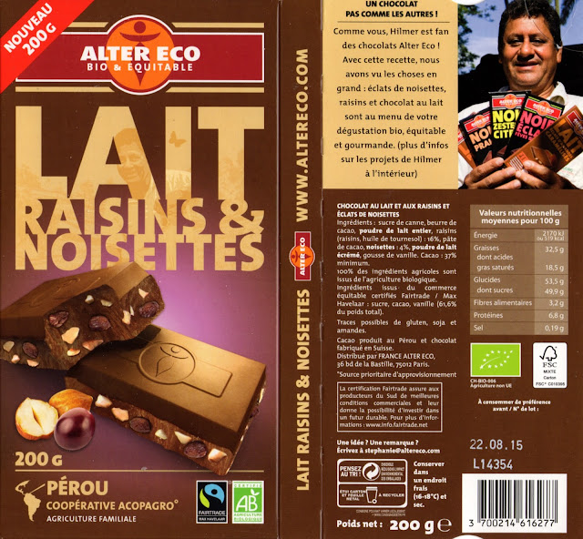 tablette de chocolat lait gourmand alter eco pérou lait raisins et noisettes