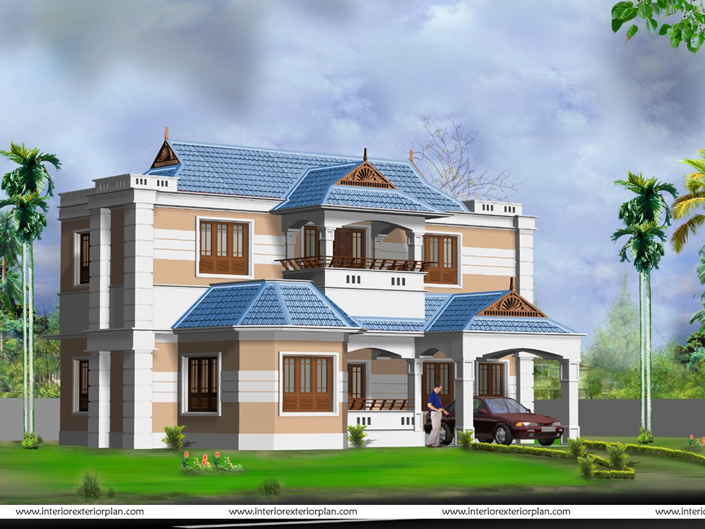 Western home decorating 3d house plan with the for Front house exterior design