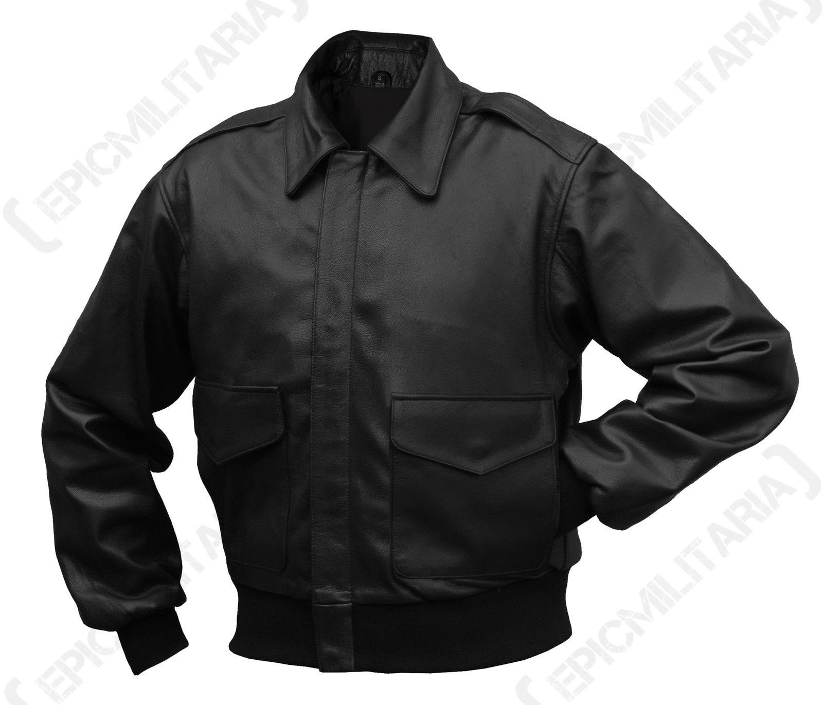 BLACK Leather US Pilots A2 Flying Jacket - Repro All Sizes WW2 American Airforce