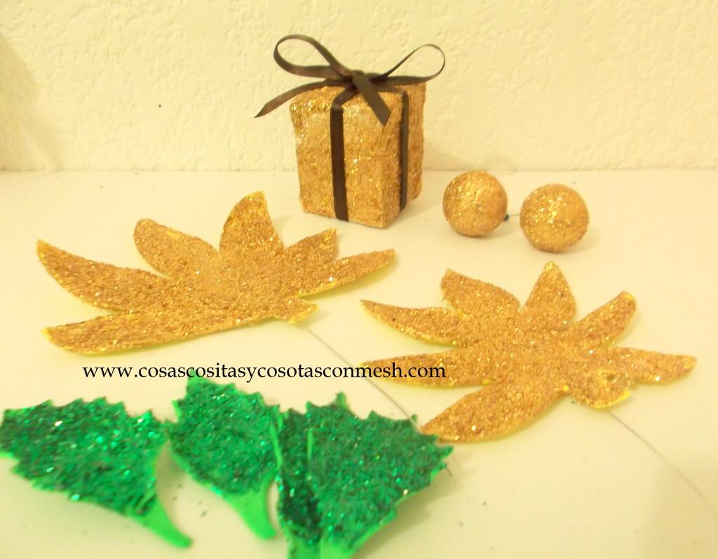 Molde para imprimir -hojas y flores navideñas