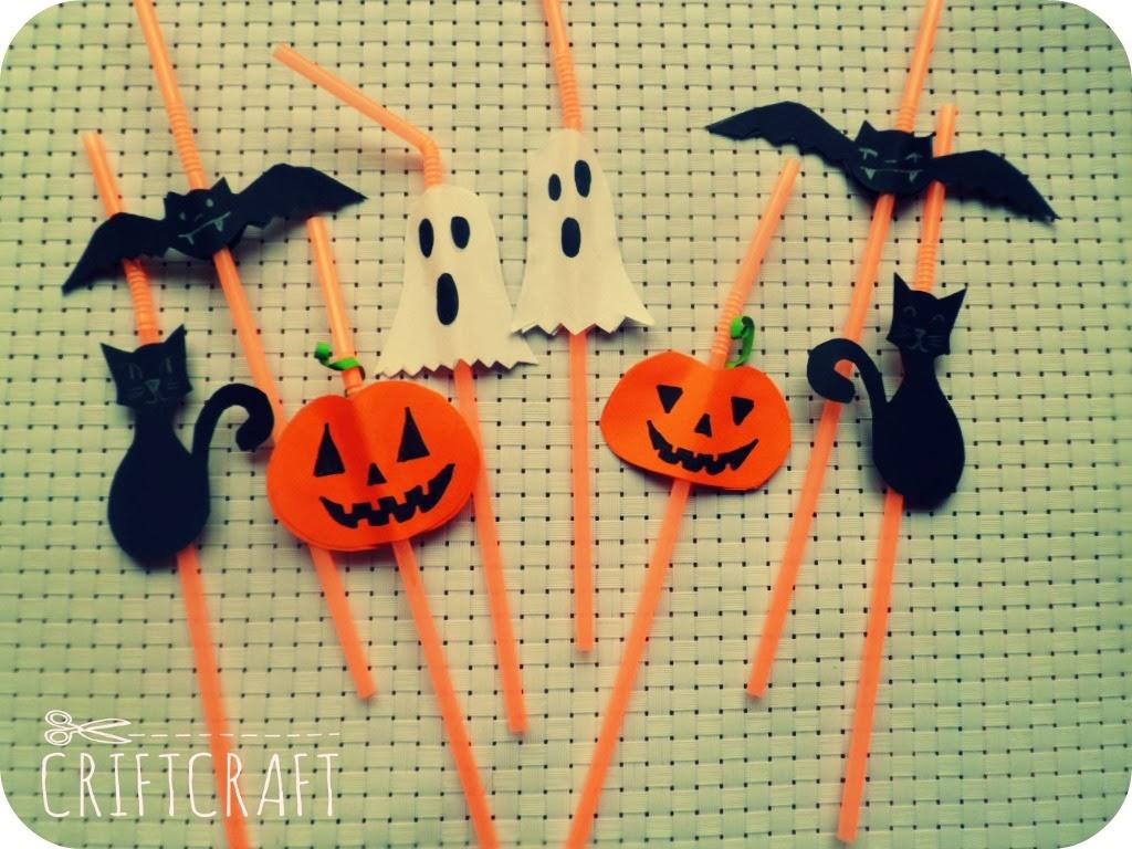 Manualidades Infantiles Pajitas decoradas para Halloween CRIFTCRAFT