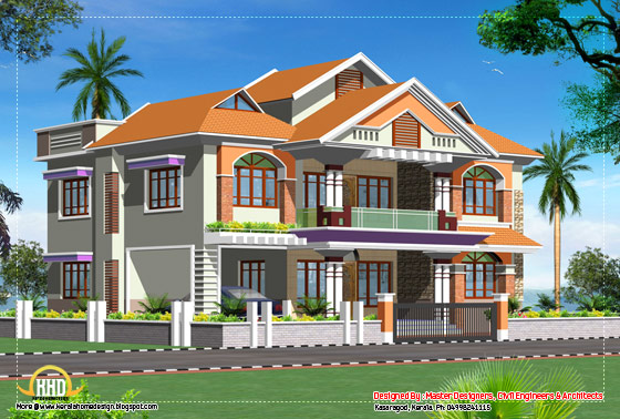 Double story luxury home design - 3719 Sq. Ft. (346 Sq. M.) (413 Square Yards)- April 2012