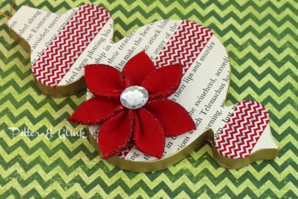Decorate a plain paper mache ornament with book pages and washi tape--A Tutorial from Pitter & Glink #ChristmasCraft #DIYOrnament #HandmadeChristmas