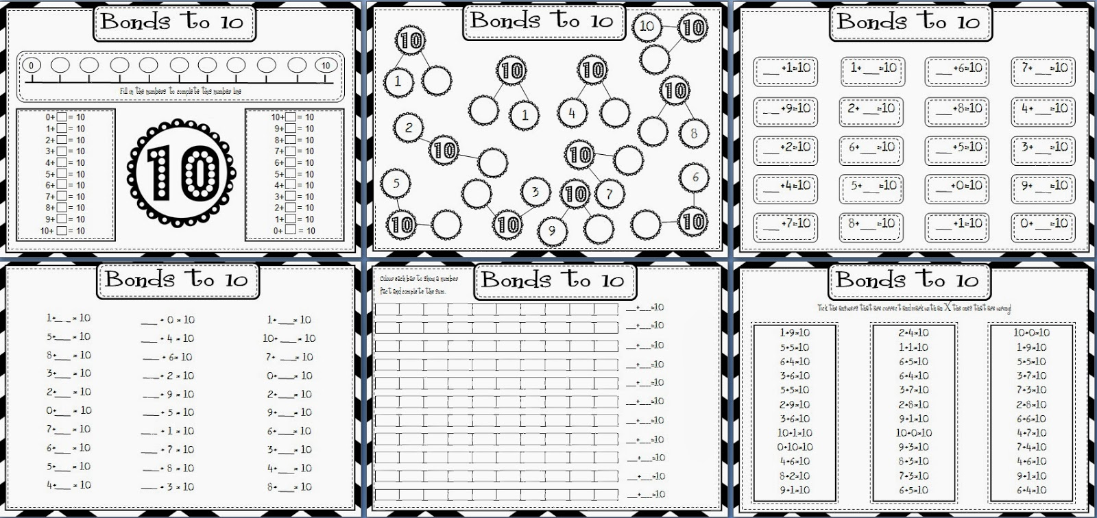 number bonds / facts to 10 printable worksheets