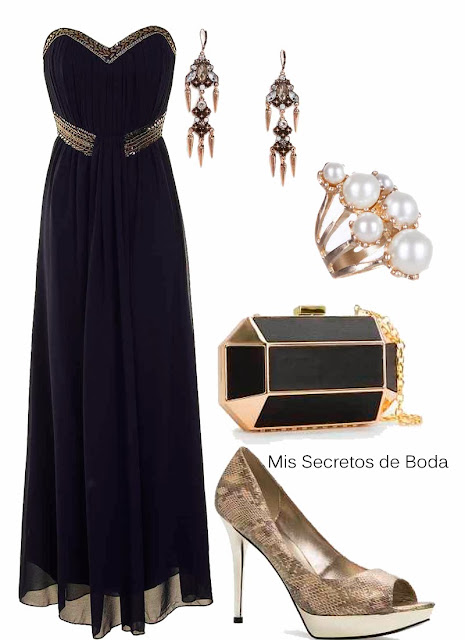 Look Invitada de Boda. Vestido de Gasa Negro y Dorado.