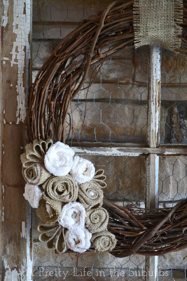 diy grapevine burlap wreath