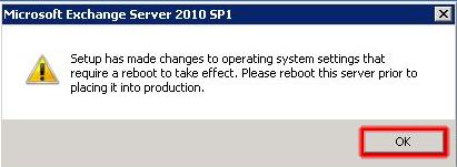 Reinicio del servidor Microsoft Exchange 2010.