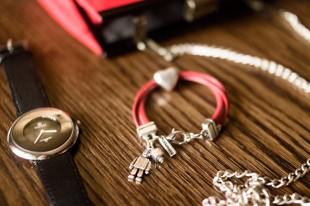 lemoniq pajacyk pah bransoletka czarny klasyczny zegarek czerwona kopertówka