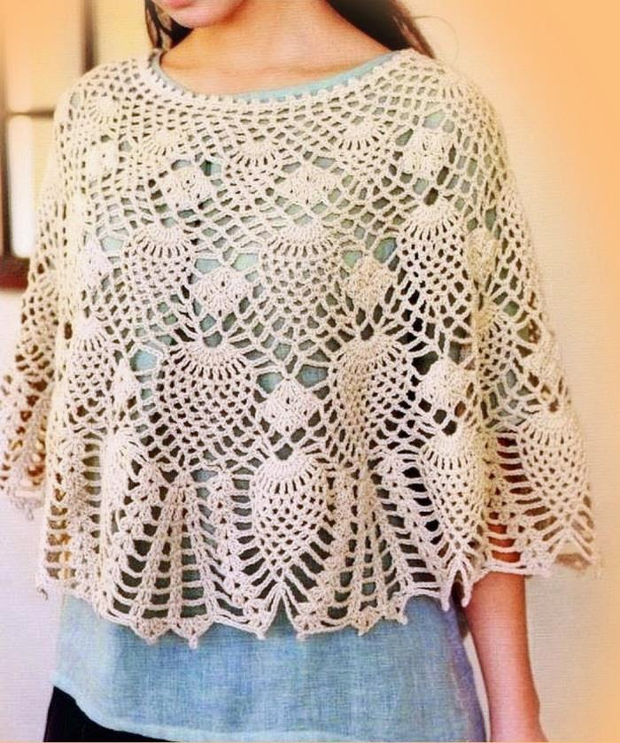 Crochet Motif Patterns : Crochet Lace Poncho Pattern