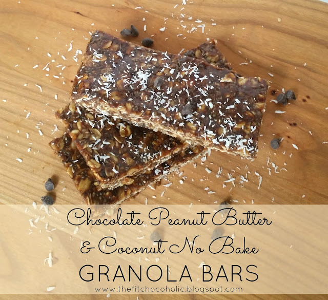 No Bake Chocolate Peanut Butter & Coconut Granola Bars
