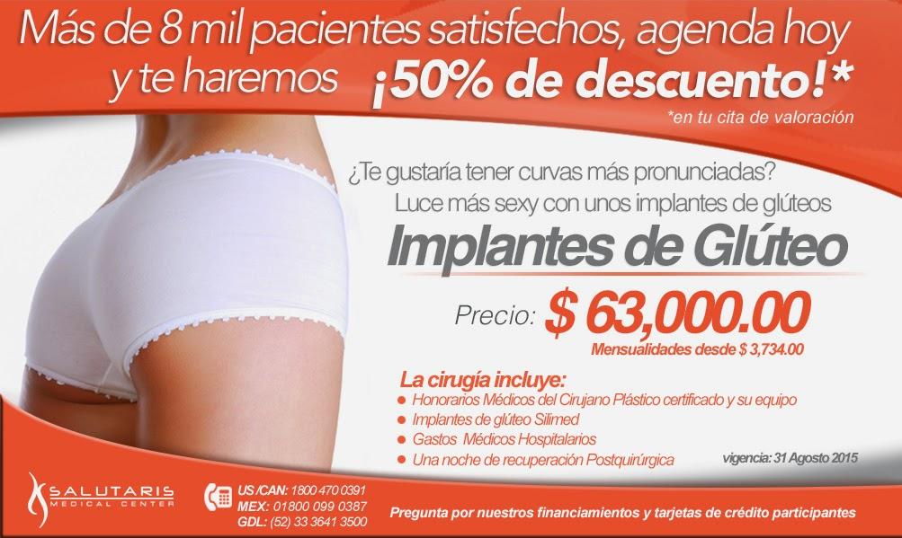 Precio oferta Paquete de Implantes aumento gluteos en Guadalajara Mexico