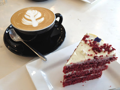 Red Velvet cake and coffee