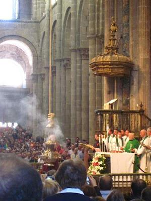 Botafumeiro inside the cathedral of Santiago de Compostela