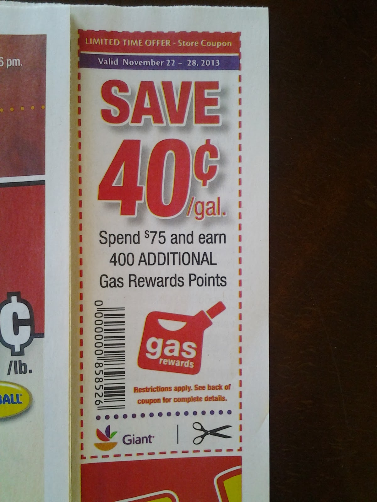 Gas discount coupons