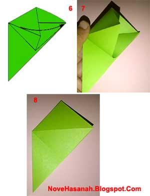 mulai membentuk kepala pada origami berudu (kecebong) katak atau kodok