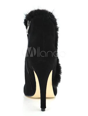 High Heel Fashion Black Sheepskin Suède Mid Calf Boots