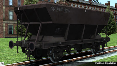 Fastline Simuation: Thyis maroon liveried HES hopper has been converted to an HSA scrap wagon by welding a steel plate across the hopper bottoms. The only visible sign of the conversion is the E that has been changed to an S in the TOPS code.