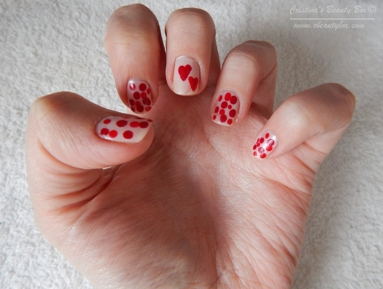 Valentine's Day Nails Hearts and Dots