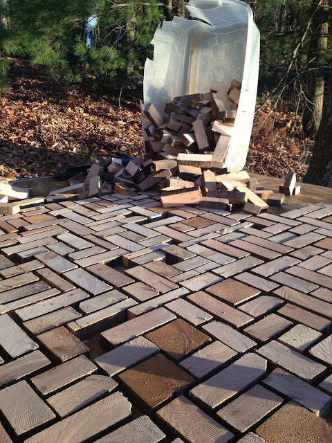 sunset house patio made of remnants of wood