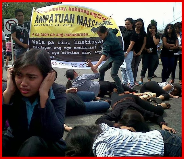 Campus journalists reenacting the bloody massacre of journalists in Maguindanano 4 years ago