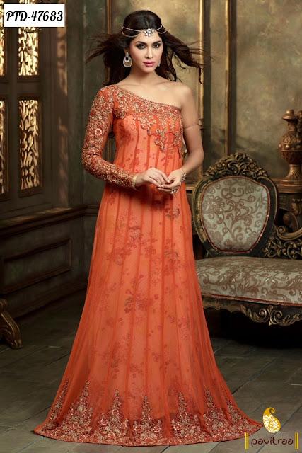Diwali season special orange color net anarkali salwar suit online shopping 2015 at pavitraa.in