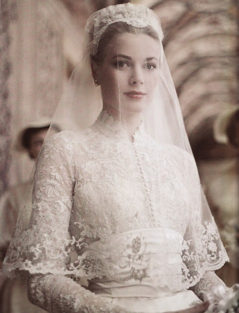 white wedding dress - princess grace kelly of monaco style icon