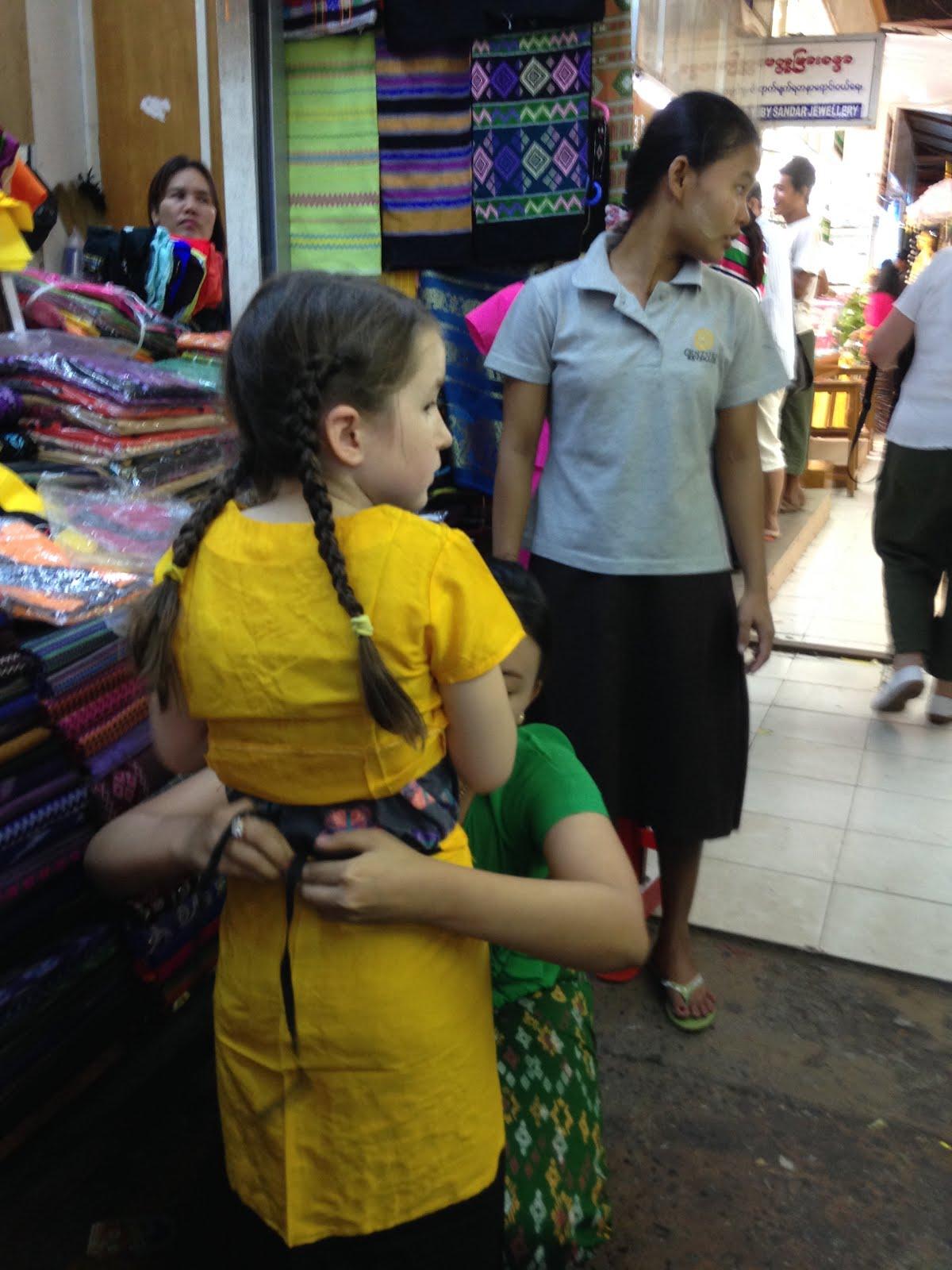 Getting longyi, Bogyoke Market