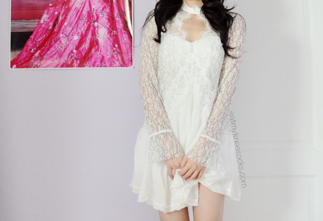 SheInside's lace shift dress is a soft, flowy, romantic dress that looks great with a black or white slip underneath.