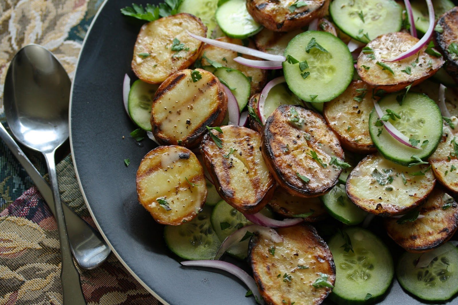 Grilled Potato Salad with Cucumbers and Fresh Herbs from the Garden ...