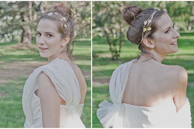 Diadema dorada para novia de Lia Terni