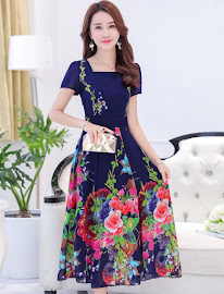 2017 Short Sleeve Black/Blue Roses Bloom Flare Chiffon Dress