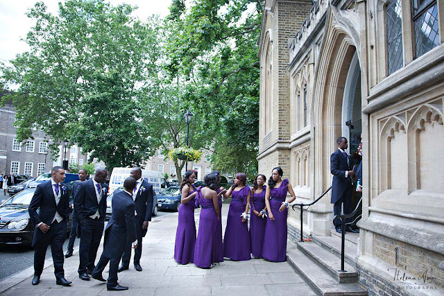 bridesmaids and groomsmen outside St John's Hyde Park church